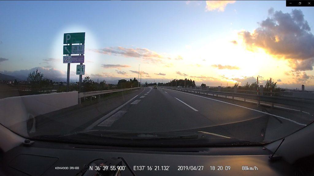 流杉スマートインター・PA上り通過(18:20)